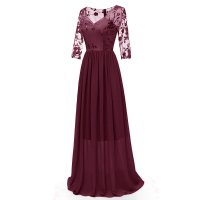V-neck Lace Embroidered Flower Bridesmaid Dress