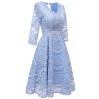Women's Elegant Bridesmaid Floral Lace Dresses