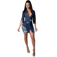 Hole Denim Casual Dress With Bottom