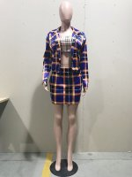 Plaid Cardigan Blouse And Skirt Set