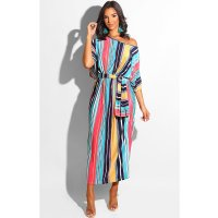 Skew Neck Batwing Sleeve Striped Maxi Dress With Scarf
