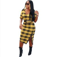 Casual Grids Printed Yellow Mid Calf Dress