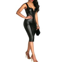 Straps V-neck Split Fork Leather Mid Dress