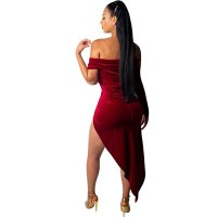 Throne Diva Off Shoulder Asymmetrical Dress