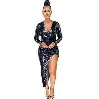 Eve Black Iridescent Sequins Asymmetrical Slit Dress
