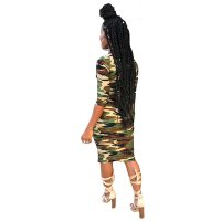 Casual Camouflage Printed Army Green Knee Length Dress