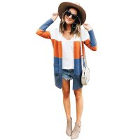 Women Striped Cardigan Coat