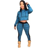 Block Color Sexy Crop Hoody and Pant Set