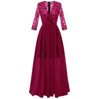 Lace Panel Surplice Semi Formal Dress