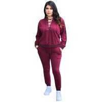 Eyelet Detail Strapped Hoodie Top and Pants