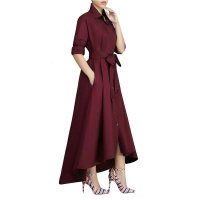 Plain Color Fit-and-Falre Long Sleeve Maxi Dress with Belt