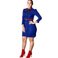Striped Zipper Bow Ruffle Long Sleeve Bodycon Dress