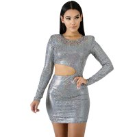 Hot Stamping Long Sleeve Sexy Mini Dress