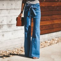 High-elastic Denim Flared Pants with Belt