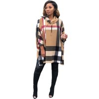 Knitted Printed Hooded Long Sleeve Top