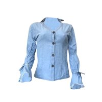 Casual Trumpet Sleeves Denim Blue Shirts