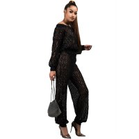 Sequined Plaid Lantern Sleeve Two Piece Set
