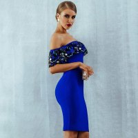 Embroidered Ruffled Collar Bandage Dress