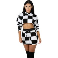 Plaid Mosaic Hooded Two Piece Skirt Set