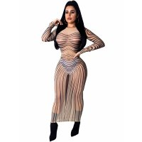 Print See-Through Bodycon Dress