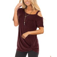 Knotted Skew Neck T-Shirt