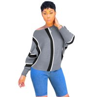 Plus Size Stripe Print Batwing Sleeve Sweatshirt
