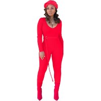 Threaded Women's Jumpsuit With Belt