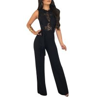 Sleeveless Lace Upper Jumpsuit with Waist Belt