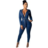 Fashion Denim Women's Jumpsuits wish Belt