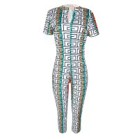 Sexy Short Sleeve V-neck Print Jumpsuit