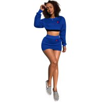 Embroidery Letter Crop Top And Skirt Set
