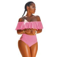 Pretty Bateau Neck Flounce Two-piece Swimwears