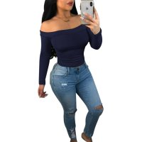 Off the Shoulder Long Sleeve Solid Color T Shirt