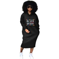 Casual Hooded Collar Black Cotton Mid Calf Dress