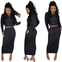Soild Color Long Sleeve Two Piece Skirts