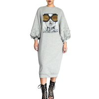 Casual Puffed Sleeves Beaded Sequins Mid Calf Dress