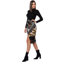 Cream and Black Scarf Print Wrap Skirt