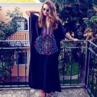Fashion Loose V Neck Embroidery Long Robes
