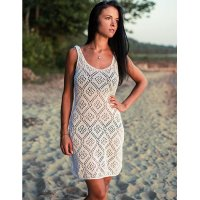 Hollow Out Knitted Vest Beach Dress