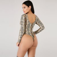 Leopard Print Wrap Front Satin Bodysuit Top