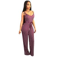 Sexy Straps Striped Jumpsuit