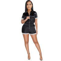 Zipped Up Sports Rompers with Contrast Trim