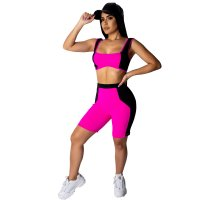 Casual Stitching Color Sports Short Set