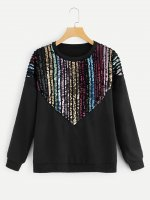 Casual Women's Sequin Stitching Sweatshirt