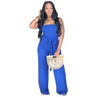 Solid Color Strapless Jumpsuit