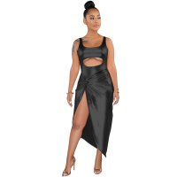 Hot Stamping Imitation Leather Irregular 2 Piece Romper Set