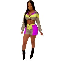 Colorblock Long Sleeve Reflective Crop Top And Shorts