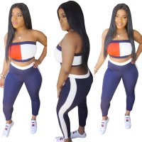 Stitching Strapless Sports Top And Pant