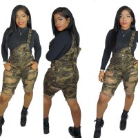 Camouflage Denim Camisole Jumpsuit Pants