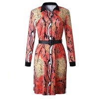 African Printed Python Pattern T-shirt Dress with Belt